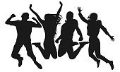 People jump vector silhouette. Cheerful man and woman isolated. Jumping friends colorful background
