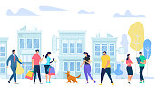 People Lifestyle in City. Men and Woman Walking, Communicating, Using Gadgets, Meeting Friends Walk with Dogs, Talking, Relaxing on Urban Cityscape Background. Cartoon Flat Vector Illustration.
