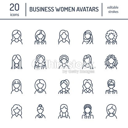People Line Icons Business Woman Avatars Outline Symbols Of Female