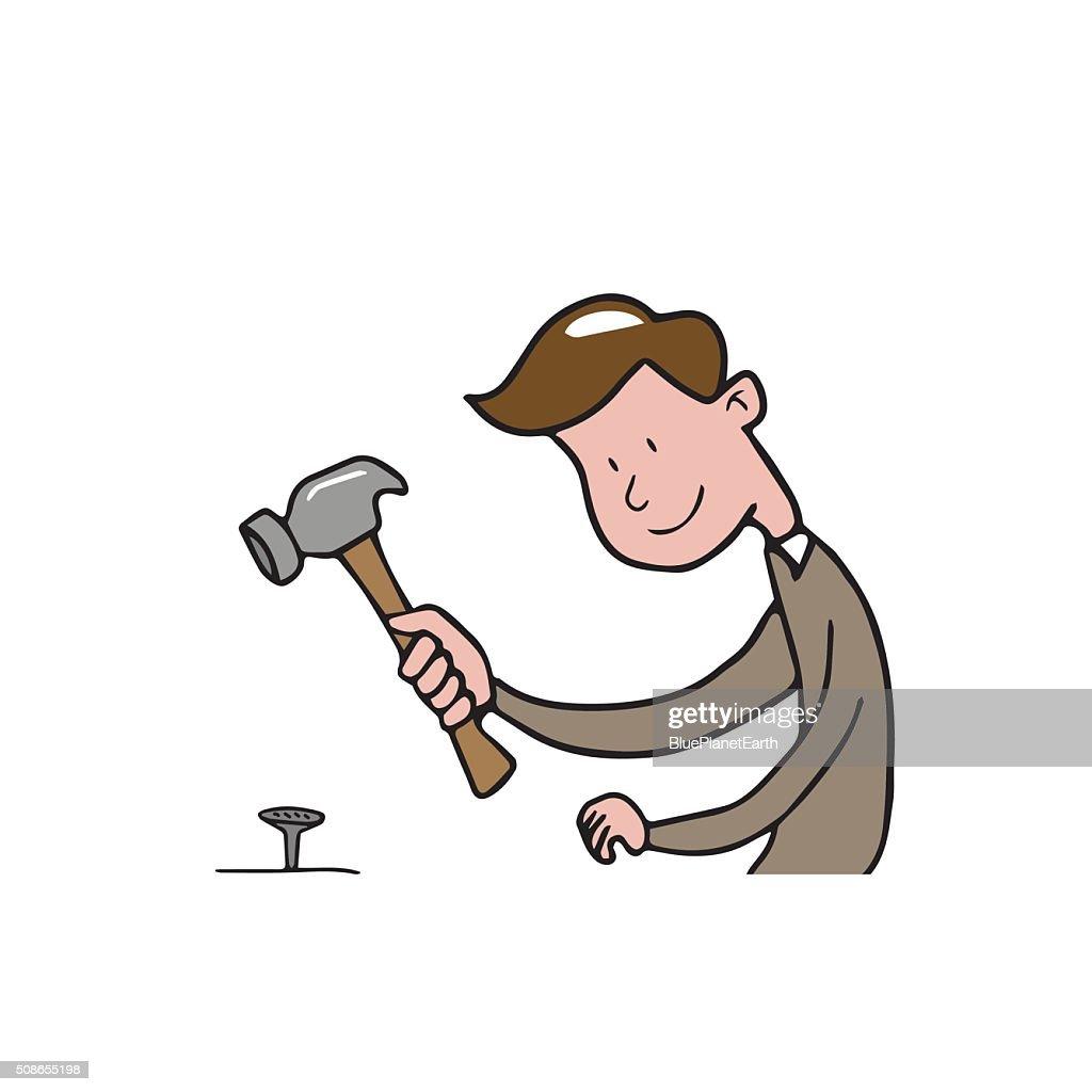 People man hammer cartoon : Vector Art