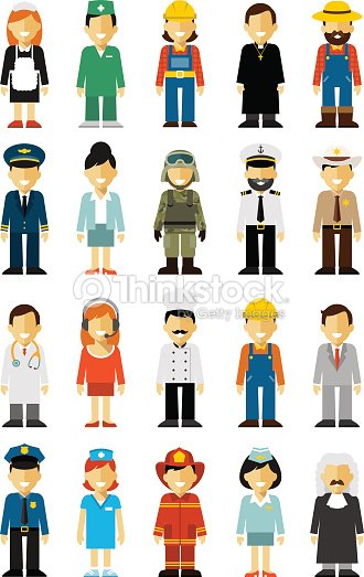 People Occupations Jobs And Community At: People Occupation Set In Flat Style Isolated On White