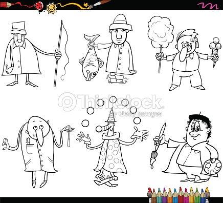 Profesiones Página Para Colorear Personas Arte vectorial | Thinkstock