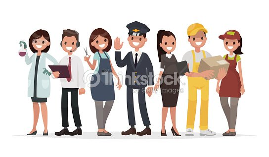 People of different professions on a white background. The laboratory assistant, the operator, the hairdresser, the driver, the teacher