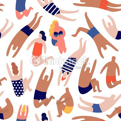 People on a beach. Seamless vector pattern : stock vector