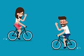 People on Bikes, flat design trendy cartoon.