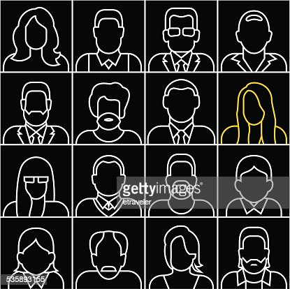 People outline silhouettes vector icons : Vector Art