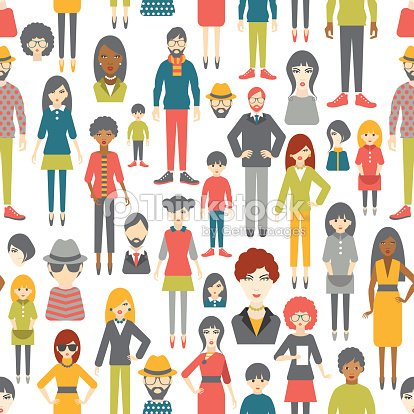 People Pattern Flat Figures Seamless Background stock ...