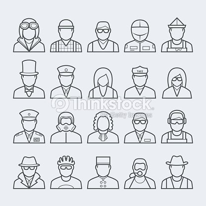 People professions and occupations icon set in thin line style #3