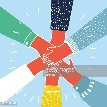 People putting their hands together vector : stock vector