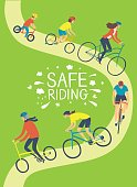 People of different age and style riding a bicycle wearing helmets. Safety on the roads. Healthy lifestyle illustration. Editable vector format.