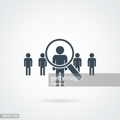 people Search vector icon.Abstract people silhouette in magnifier shape. Design concept for search for employees and job : stock vector