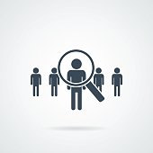 people Search vector icon.Abstract people silhouette in magnifier shape. Design concept for search for employees and job, business, human resource and professional headhunting, social network.