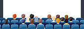 People Sit Cinema Hall Back Rear View Looking Ar Screen With Copy Space. vector illustration in flat design.