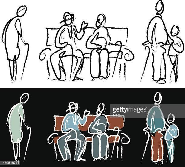 Personas boceto-el envejecimiento