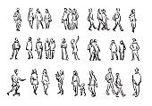People sketch. Casual group of people silhouettes. Outline hand drawing illustration
