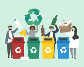 People sorting garbage into recycle bins illustration