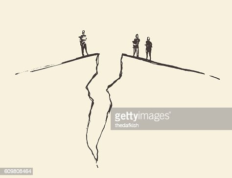 People standing cracked ground. Concept vector. : stock vector