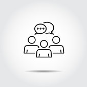 people talking icon . logo vector . speech bubbles