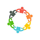 People Team with Linking Arms. symbol Vector Illustration