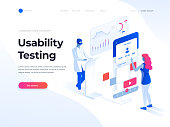People testing the interface and usability of a mobile application. Data analysis and office situations. Isometric illustration. Landing page template.