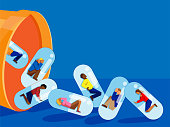 vector illustration of multiracial adults encapsulated and being dropped from a large pill bottle. concept for prescription drug addiction/abuse.