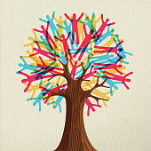 Tree symbol made of colorful people silhouettes. Concept illustration for community help, environment project or culture diversity. EPS10 vector.