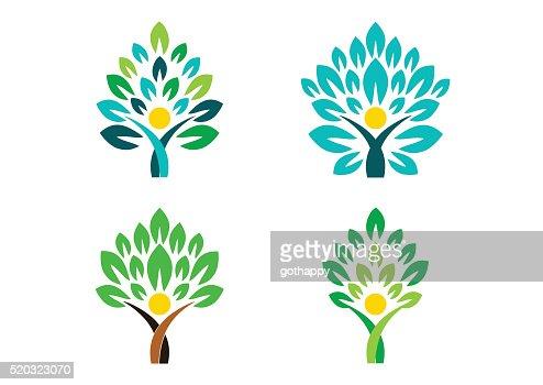 people tree logo, people wellness symbol icon set vector design : stock vector