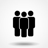 People vector icon. Simple flat symbol. Perfect Black pictogram illustration on white background.