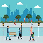 people walking in street city vector illustration eps 10