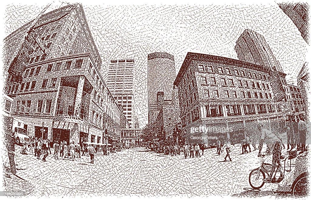 People Walking in Urban Scene : Vector Art