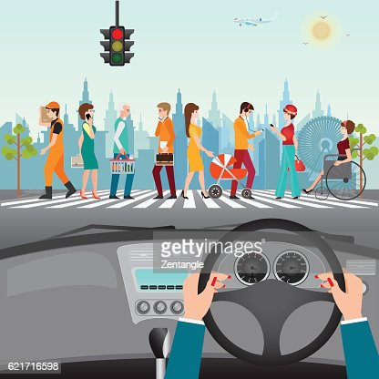 People walking on the crosswalk. : stock vector