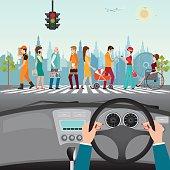People walking on the crosswalk, car interior, flat design vector illustration.