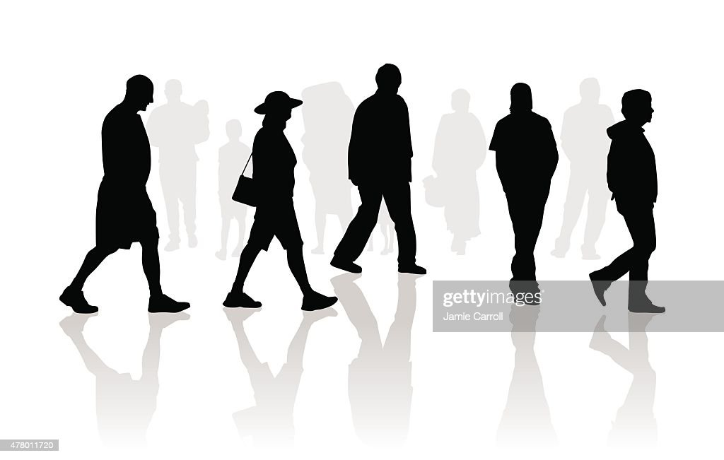 People Walking Silhouettes Vector Art | Getty Images
