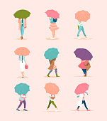 Crowd of tiny people under rain on modern minimalist style. Spring poster with girls under umbrellas running in the rain.
