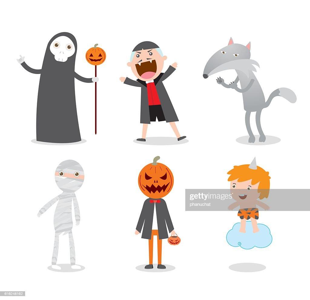 people wearing Halloween monster costume Halloween Party,children Halloween, kids : Vector Art