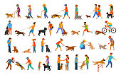 people with dogs graphic collection.man woman training their pets basic obedience commands like sit lay give paw walk close, exercising run jump barrier, protection, running playing and walking,teachi