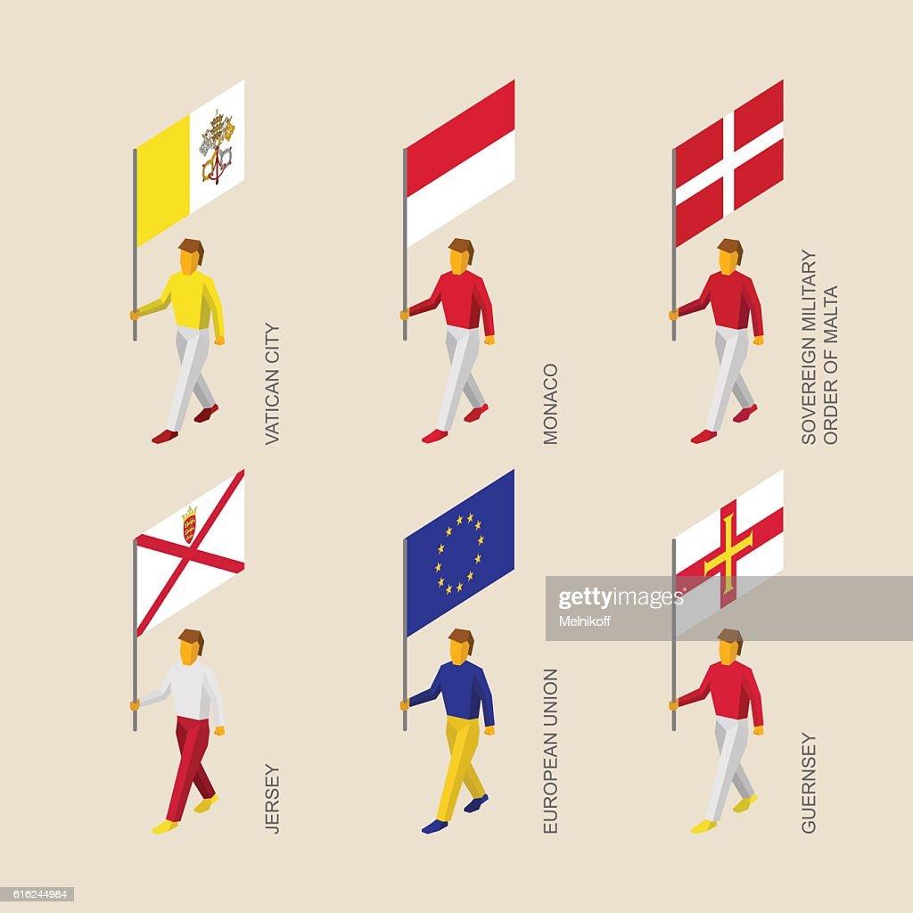 People with flags - Vatican, Monaco, Malta, Jersey, Guernsey, EU : Vector Art