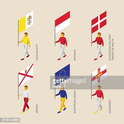 People with flags - Vatican, Monaco, Malta, Jersey, Guernsey, EU : Arte vectorial
