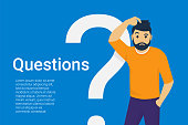 Young man standing near big question symbol and he needs to ask help or advice via live chat, help desk or faq. Flat concept vector illustration of online support on blue background