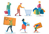 People with shopping bags. People shopping concept. Illustration set of people holding shopping bags, shopping basket, shopping cart, big box, packing box. Family shopping characters in flat.