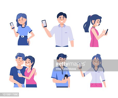 people with smartphones : stock vector