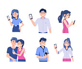 Different people holding smartphones. Flat style vector illustration.