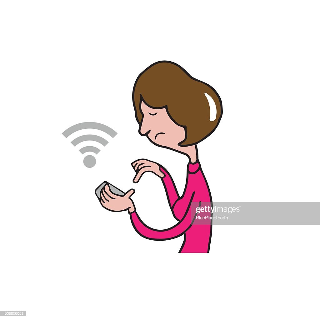 People woman smart phone finding location : Vector Art