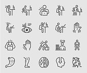 People working and Health effects, Office syndrome, Body pain line icon