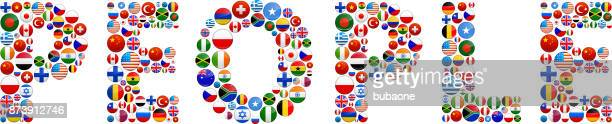 People World Flags Vector Buttons