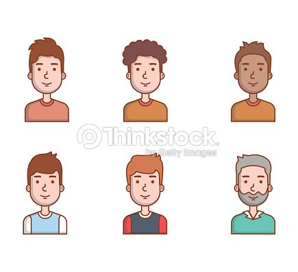 People young men portrait male avatar set