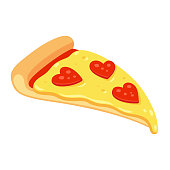 Pizza slice with heart shaped pepperoni for St. Valentines day. Funny pizza lover vector illustration.