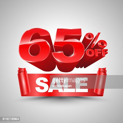 65 percent off sale red ribbon banner roll 3D style. : Vectorkunst