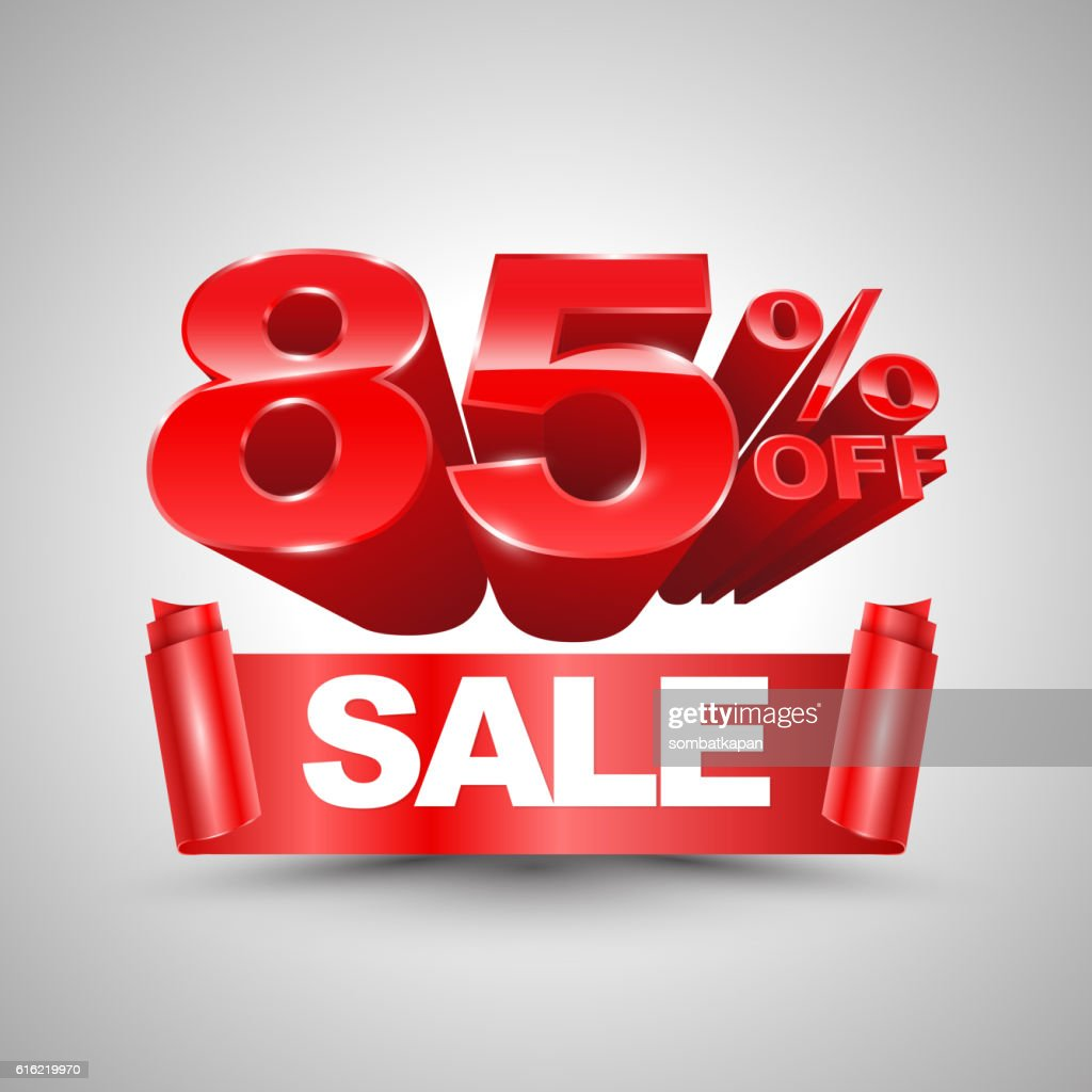 85 percent off sale red ribbon banner roll 3D style. : Vectorkunst