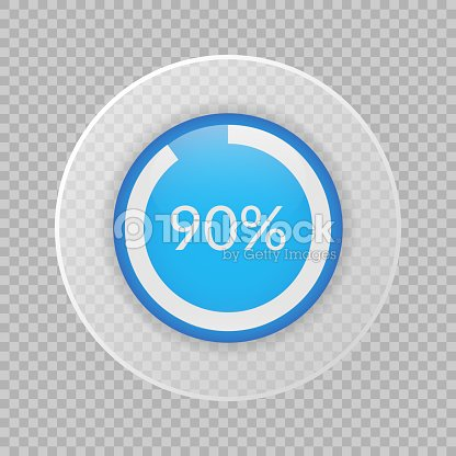 90 Percent Pie Chart On Transparent Background Percentage Vector